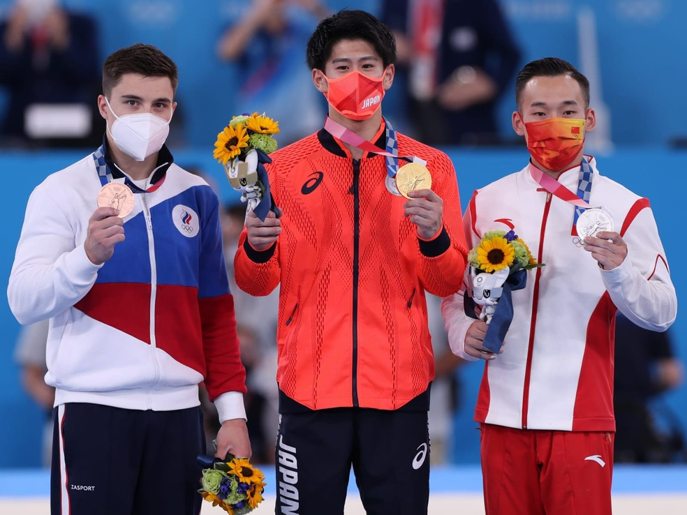 Nikita Nagornyy, Daiki Hashimoto e Xiao Ruoteng nas Olimpíadas — Foto: RICARDO BUFOLIN / PANAMERICA PRESS / CBG