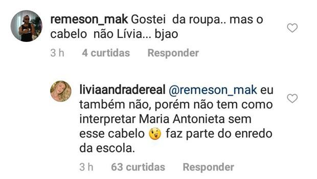 Lívia Andrade responde comentário de seguidor (Foto: Reprodução/Instagram)
