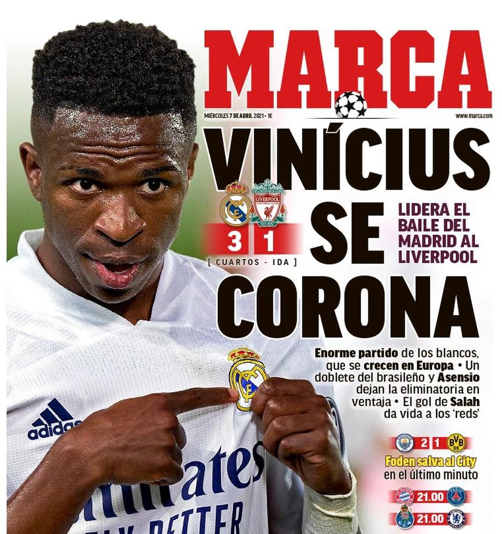 """Vinicius Junior na capa do jornal """"Marca"""" nesta quarta-feira — Foto: Reprodução"""