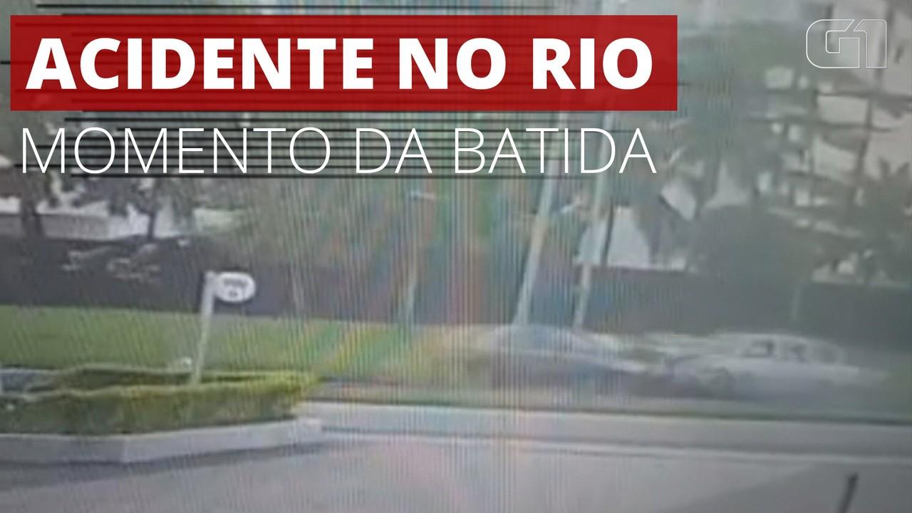 VÍDEO: Veja momento da batida do carro de surfista e de sargento da Marinha, em São Conrado