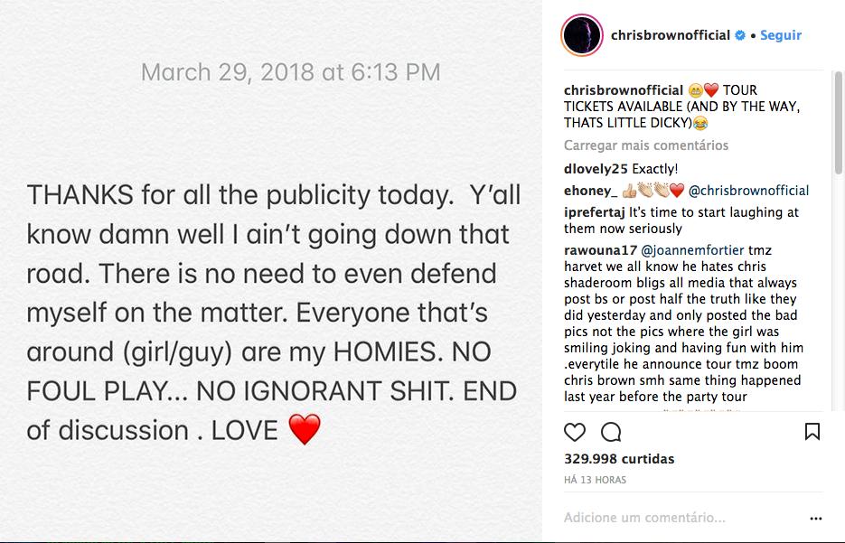 O post no qual Chris Brown ironiza a repercussão da foto em que aparece com as mãos no pescoço de uma mulher (Foto: Instagram)