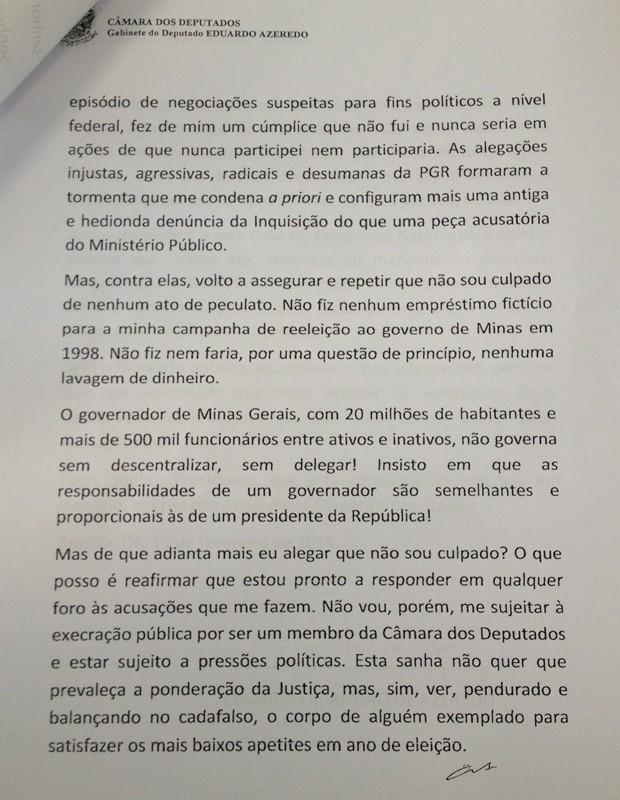 Segunda página da carta de renúncia entregue pelo filho de Azeredo à Câmara (Foto: Reprodução)