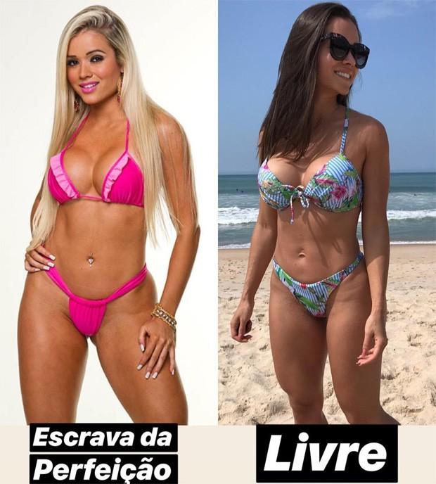 Antes e depois de Aryane Steinkopf (Foto: Reprodução/Instagram)