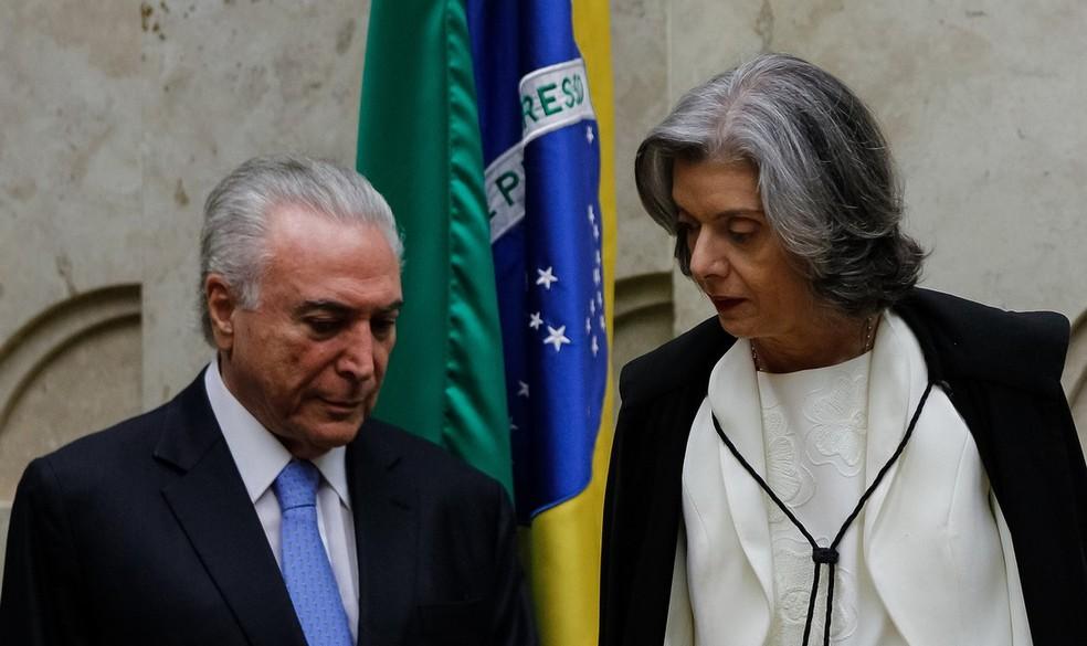 O presidente Michel Temer e a ministra Cármen Lúcia, durante encontro no STF (Foto: Marcos Corrêa/PR)