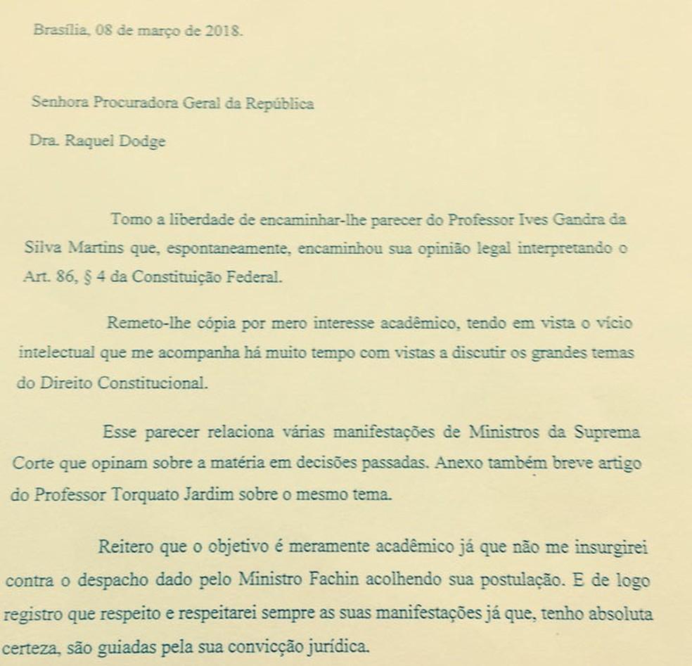 Carta do presidente Michel Temer à procuradora-geral Raquel Dodge (Foto: Reprodução)
