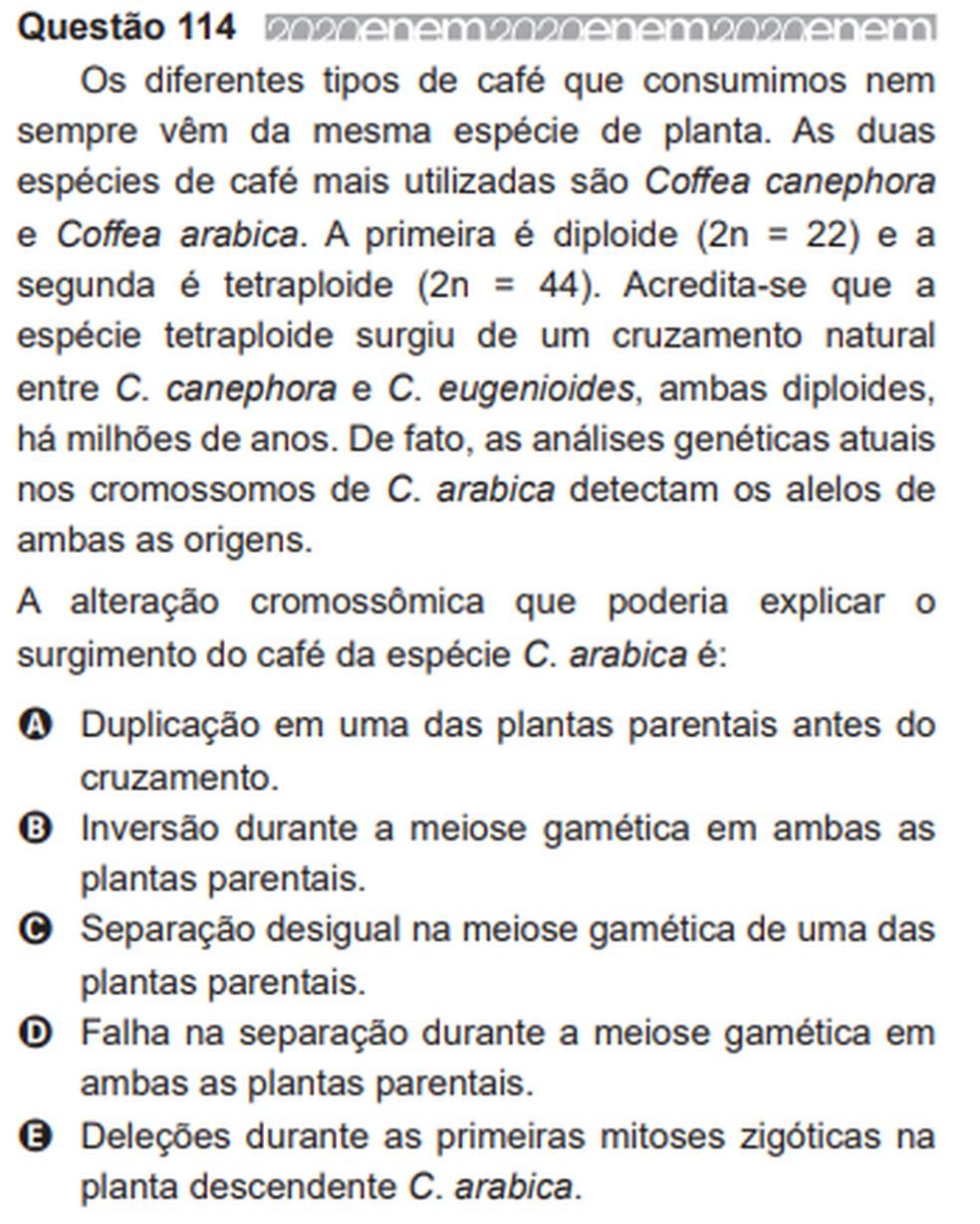 Inep anula questões do Enem 2020: na imagem, questão de ciências da natureza abordava a alteração cromossômica no café arábica — Foto: Reprodução/Inep
