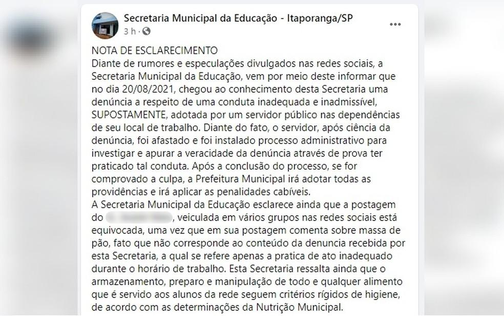 Prefeitura afasta funcionário para apurar suposto ato obsceno na padaria municipal de Itaporanga — Foto: Facebook/Reprodução