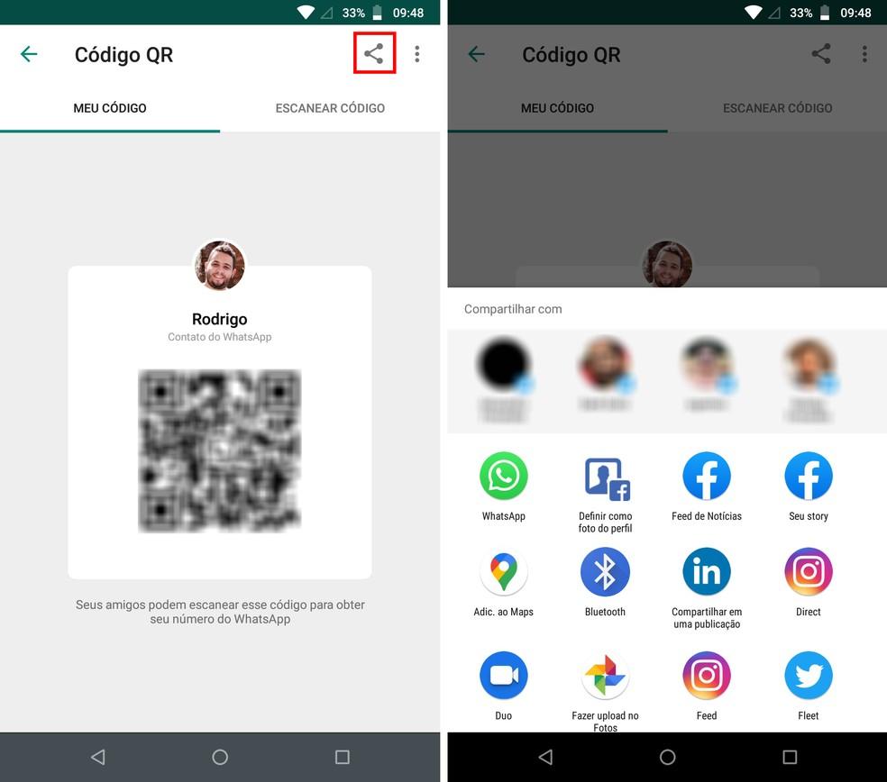 QR Code do WhatsApp pode ser compartilhado para outros contatos — Foto: Reprodução/Rodrigo Fernandes