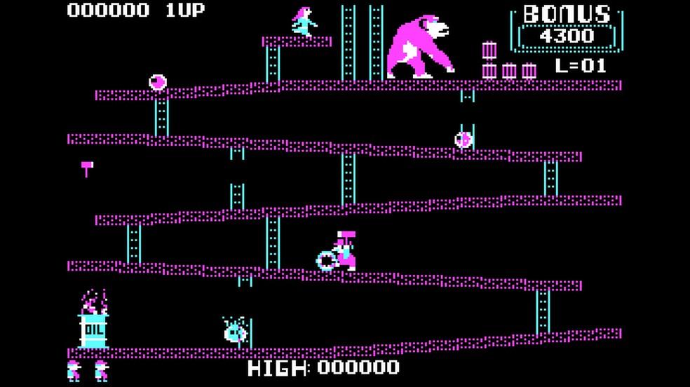 A conversão de Donkey Kong para PCs não foi das melhores, mas ainda traz o game clássico — Foto: Reprodução/Rafael Monteiro