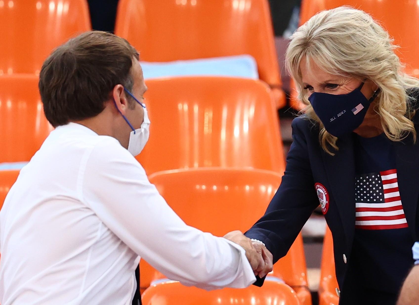 Emmanuel Macron e Jill Biden se encontram em jogo de basquete 3x3 nas Olimpíadas de Tóquio