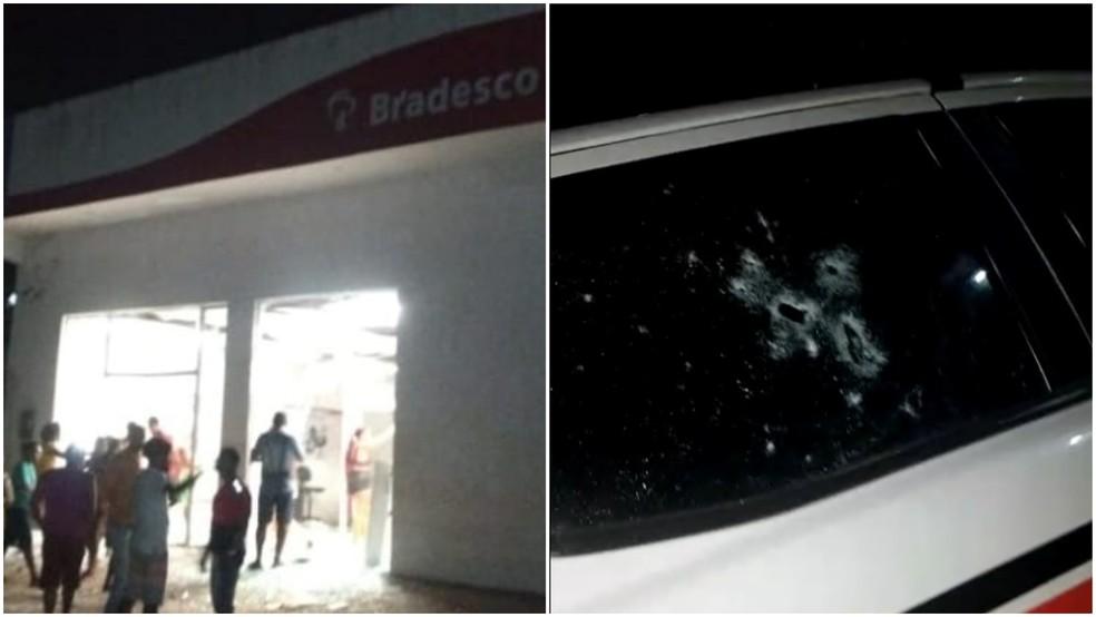 Criminosos destroem banco e metralham viatura na PM em Turiaçu, no Maranhão — Foto: Imagens enviadas à TV Mirante