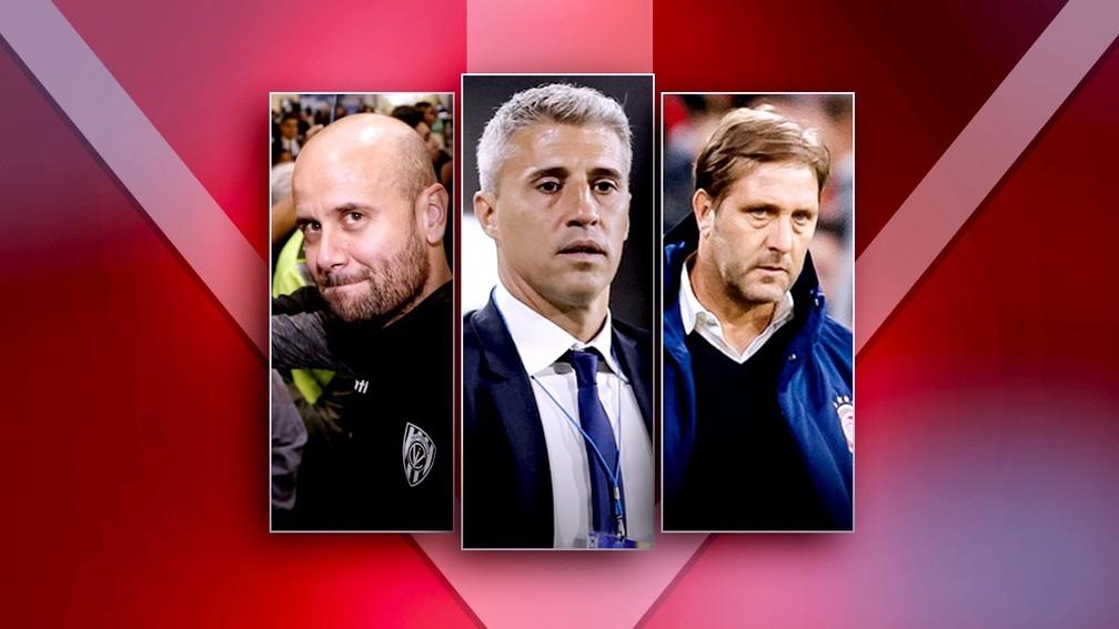 Miguel Ángel Ramírez, Hernán Crespo e Pedro Martins: São Paulo define trio como prioridade — Foto: ge