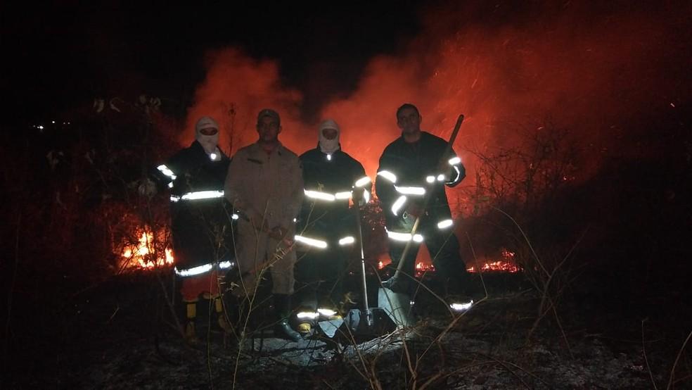 Equipe do Corpo de Bombeiros no trabalho de combate ao incêndio em Quixadá — Foto: Divulgação/Corpo de Bombeiros/CE