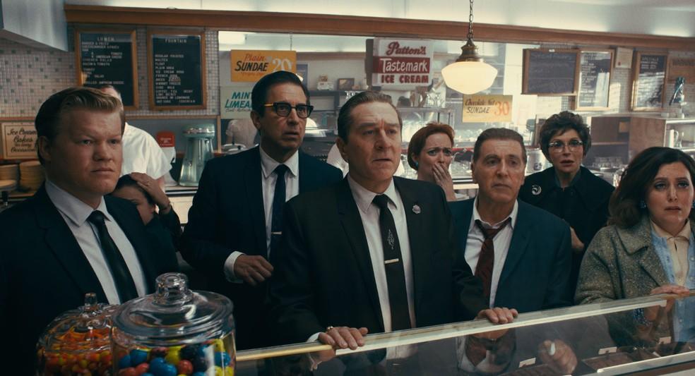 Jesse Plemons, Ray Romano, Robert De Niro e Al Pacino em cena de 'O Irlandês' — Foto: Divulgação/Netflix