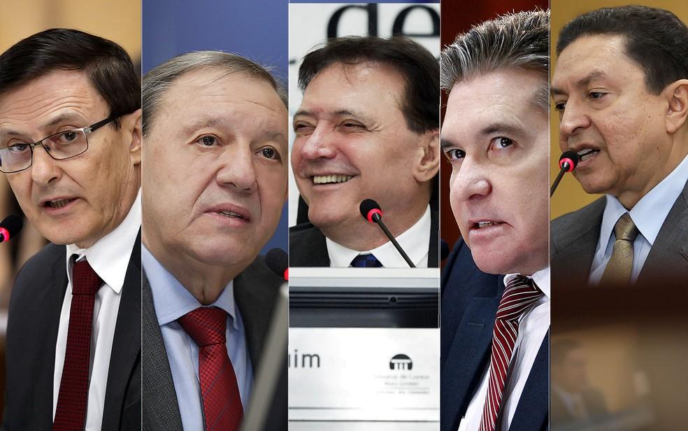 Foram afastados os conselheiros Waldir Teis, Jose Carlos Novelli, Antônio Joaquim, Sérgio Ricardo e Valter Albano (da esquerda para a direita) — Foto: TCE-MT