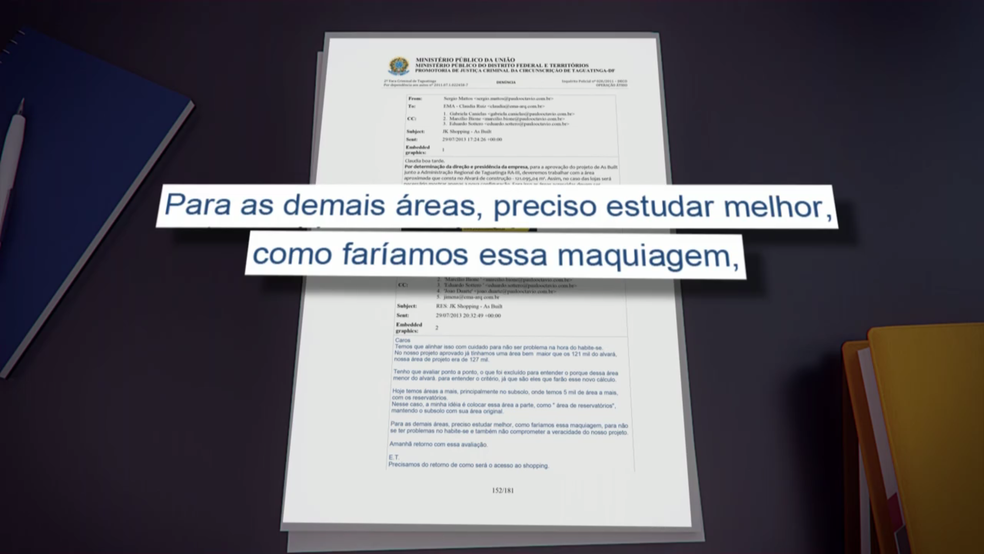 Trecho do email de resposta da arquiteta da obra anexado aos documentos da investigação.  (Foto: Reprodução/TV Globo)