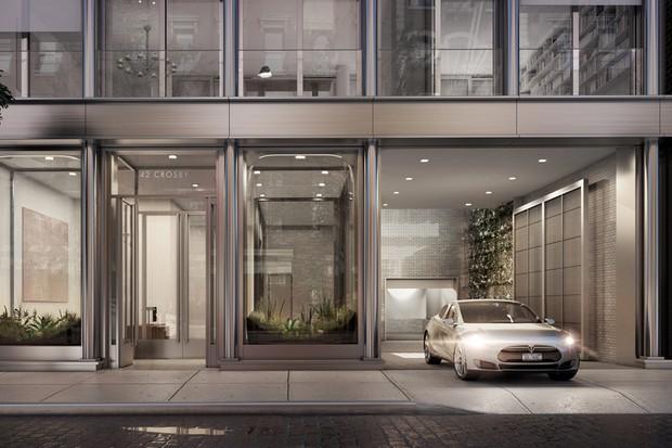 Claro que um Tesla seria utilizado para ilustrar essa fachada (Foto: Divulgação)