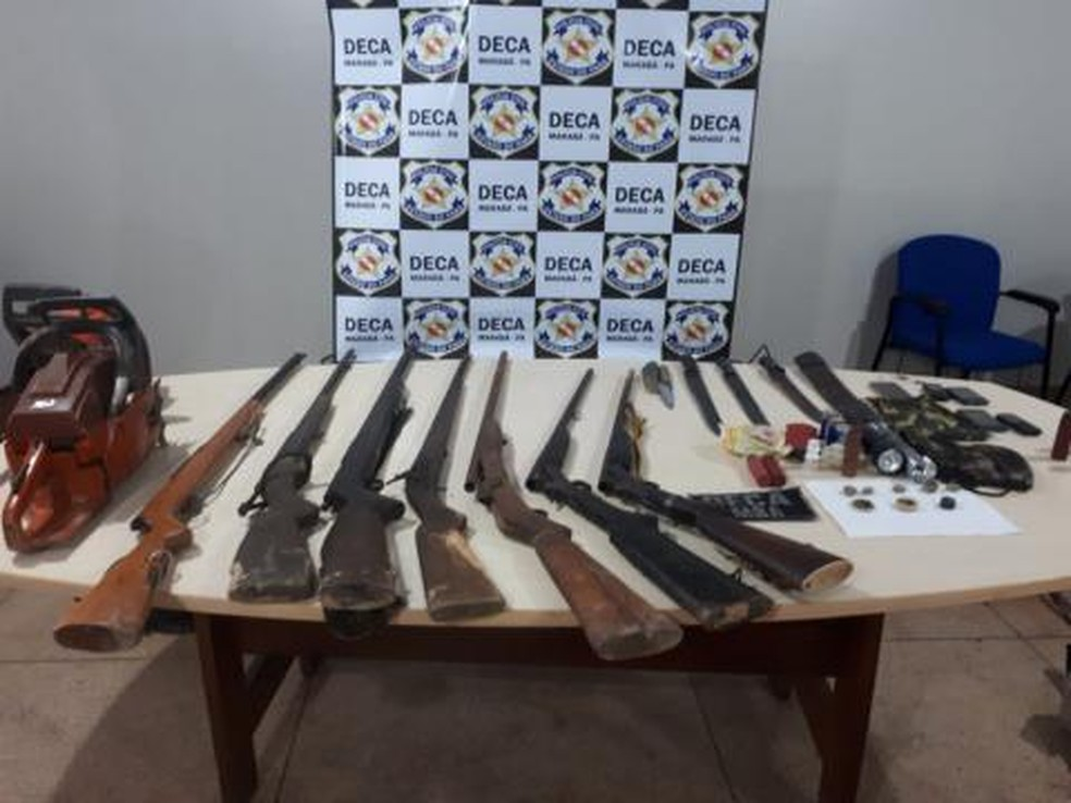 Sete armas são apreendidas em operação da Deca em Marabá, no Pará. — Foto: Reprodução / Polícia Civil