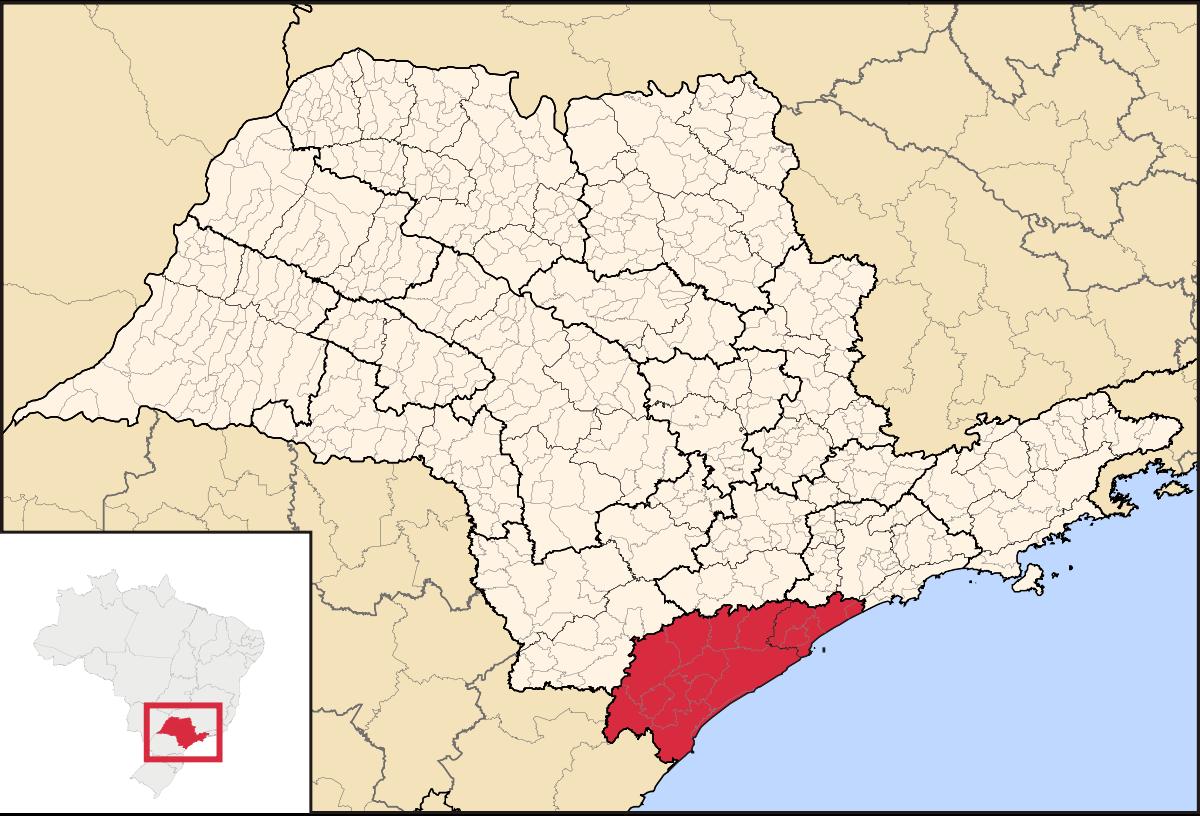 A localização do Vale do Ribeira, no Estado de São Paulo