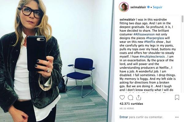 O post no qual a atriz Selma Blair revelar ter esclorese múltipla (Foto: Instagram)