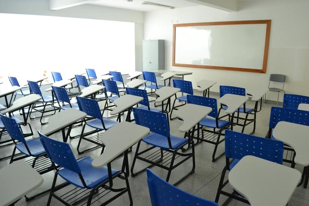 Sala de aula da Escola Municipal Ivonete Maciel, no bairro Cidade da Esperança — Foto: Secom/PMN