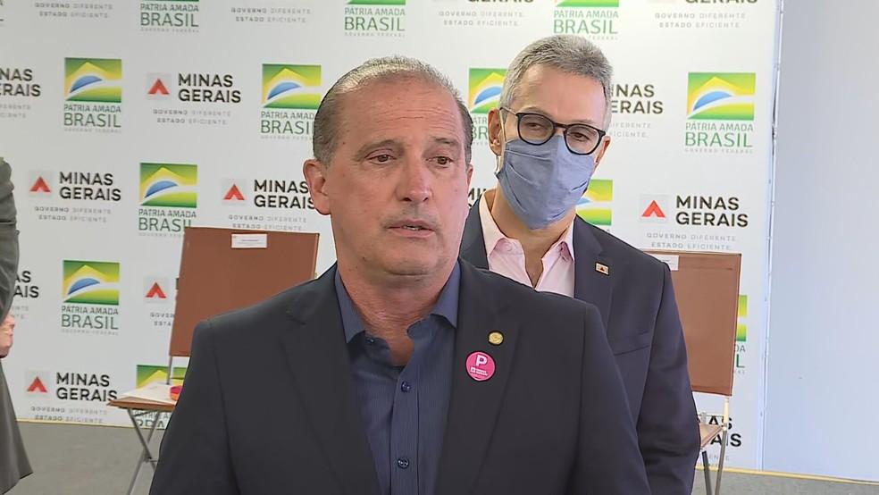 Ministro da Cidadania Onyx Lorenzoni falou sobre pagamento de Auxílio Emergencial, em solenidade em Belo Horizonte — Foto: Reprodução/TV Globo