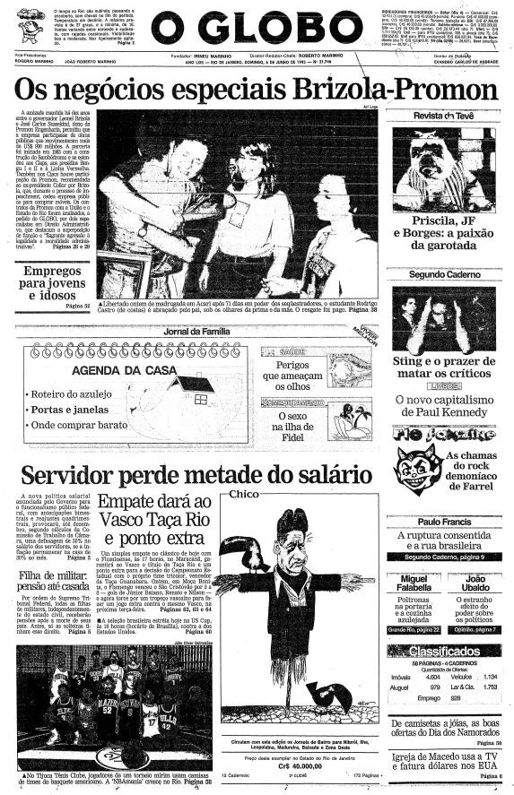 Primeira página de 6 de junho de 1993