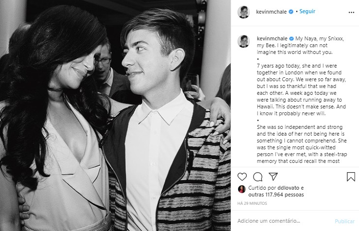 Kevin McHale faz homenagem para Naya Rivera (Foto: Reprodução/Instagram)