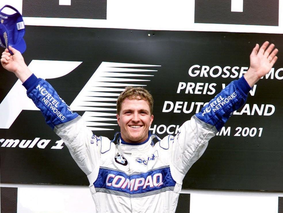Ralf Schumacher comemora vitória no GP da Alemanha de 2001 — Foto: Getty Images