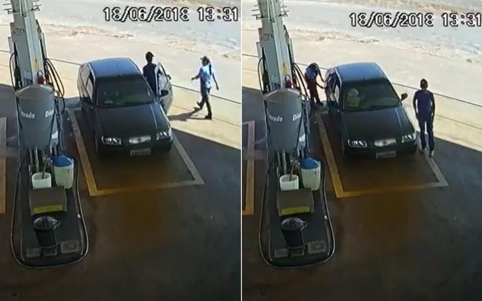 Imagens de circuito de seguraça mostram suspeito e criança sequestrada em posto de combustível de Caiapônia (Foto: Reprodução/TV Anhanguera)