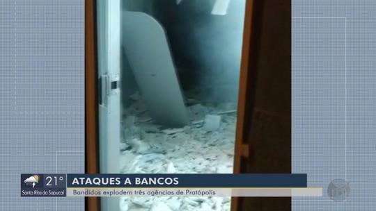 Três agências bancárias são alvos de explosão durante a madrugada em Pratápolis, MG