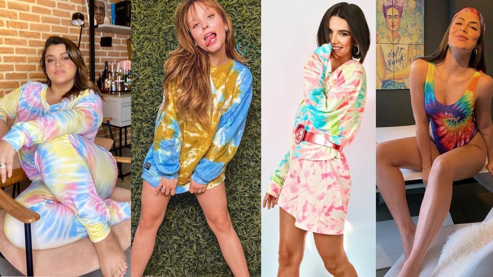 Preta Gil, Larissa Manoela, Manu Gavassi e Mari Gonzalez são adeptas do tie-dye — Foto: Reprodução/Instagram