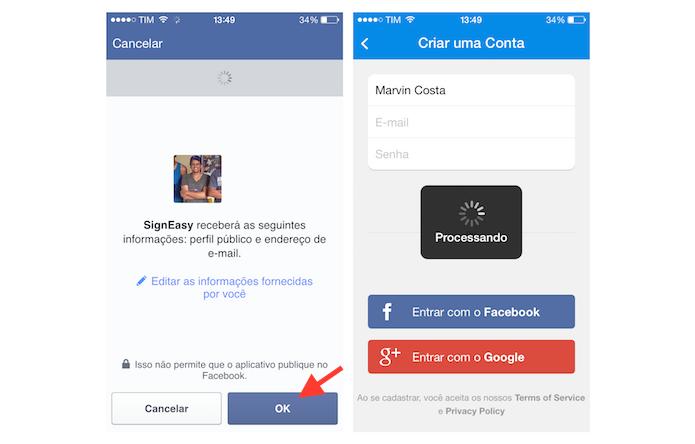 Finalizando a criação de uma conta no SignEasy através de um login pelo Facebook (Foto: Reprodução/Marvin Costa)
