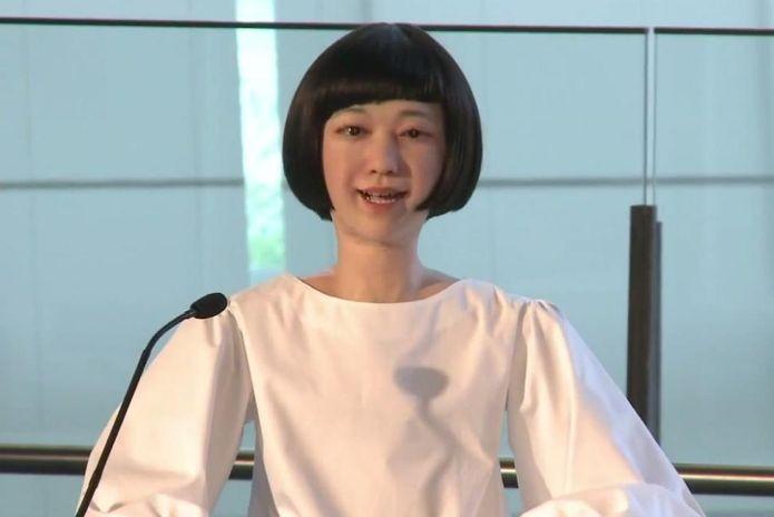 Jornalista robô tem aparência humana e lê notícias (Foto: Divulgação)