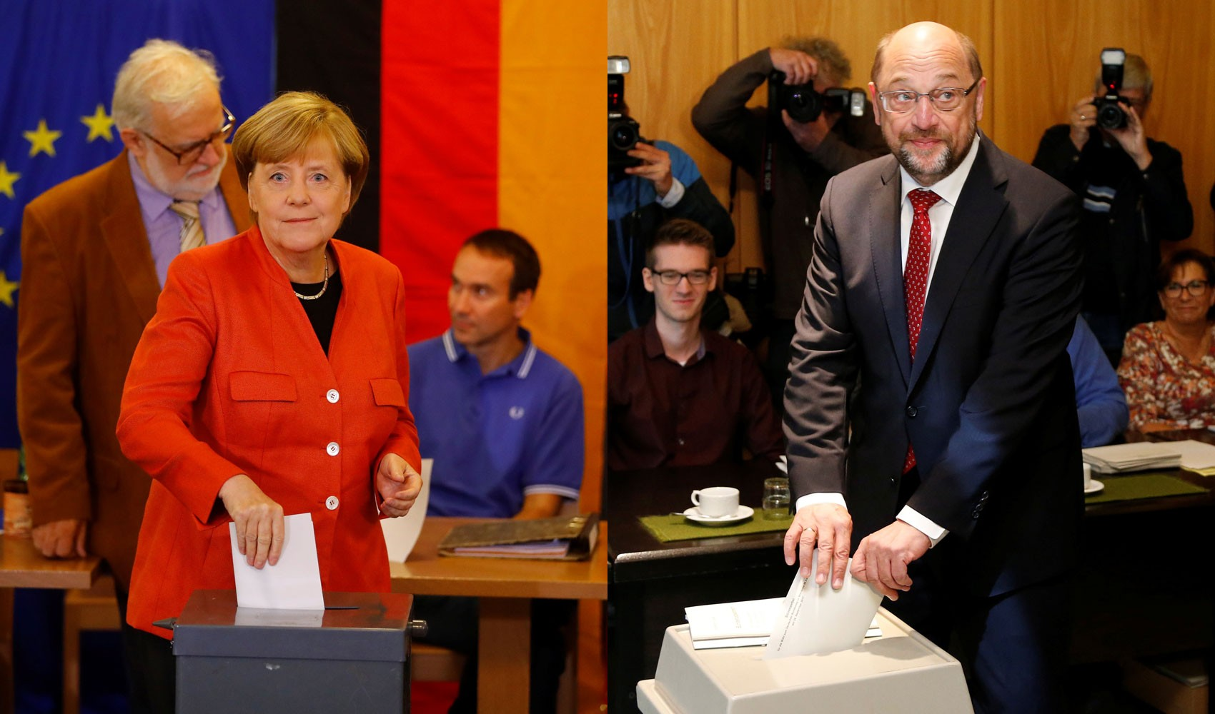 Principais candidatos, Merkel e Schulz votam nas eleições da Alemanha