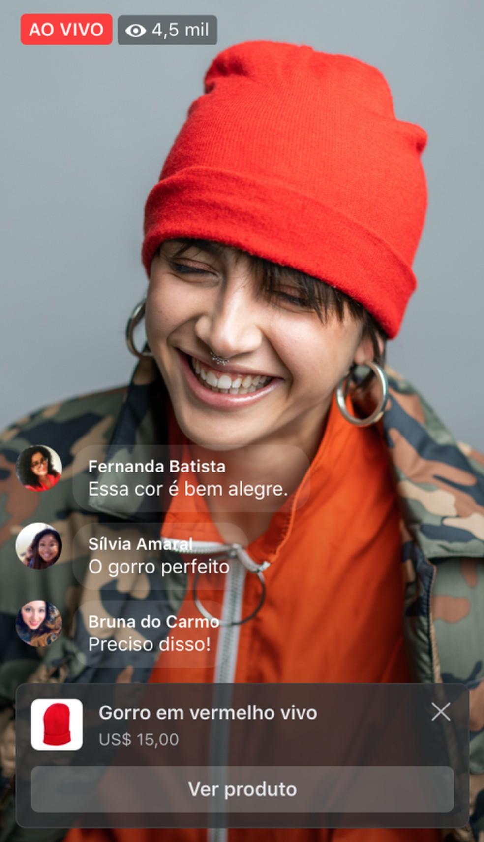 Facebook diz que em breve será possível linkar produtos em lives na rede social. — Foto: Divulgação