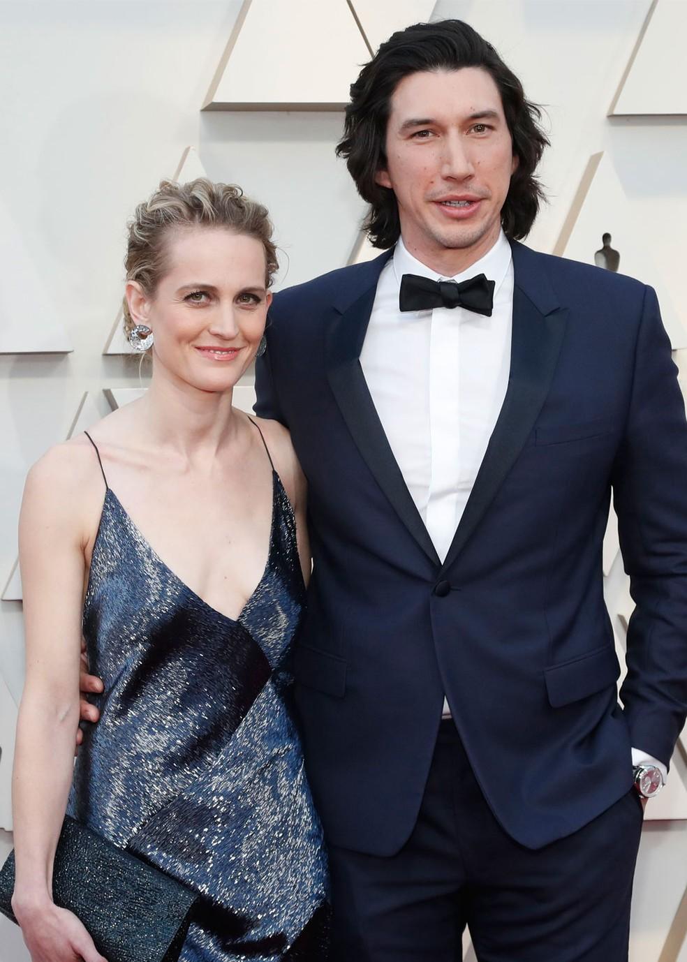 Adam Driver e sua esposa Joanne Tucker no tapete vermelho do Oscar 2019  — Foto: Mario Anzuoni/Reuters