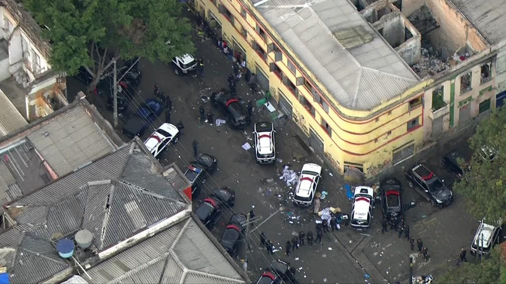 Operação policial na região da Cracolândia — Foto: Reprodução/TV Globo