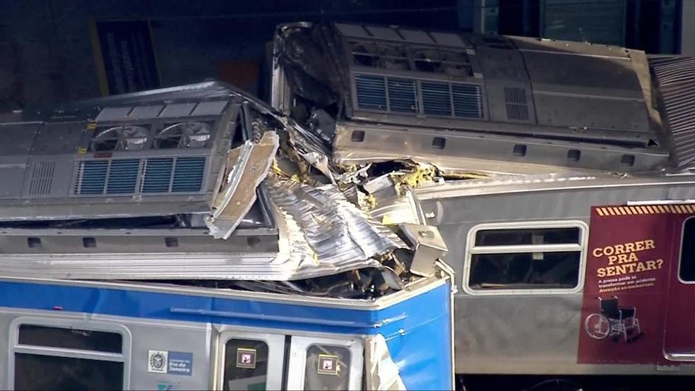 Acidente na Estação São Cristóvão da SuperVia — Foto: Reprodução/TV Globo