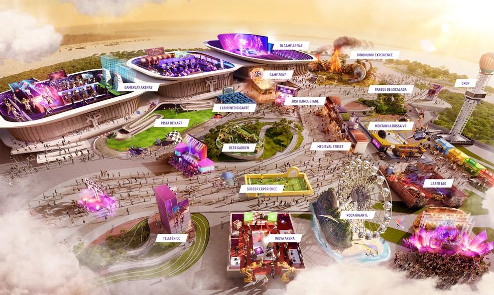 Mapa geral com atrações da Game XP — Foto: Divulgação/Game XP