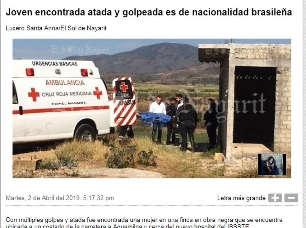 Site da imprensa mexicana informou que a mulher brasileira foi encontrada — Foto: Reprodução/Elsoldenayarit