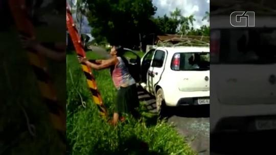 Vídeo mostra moradora apedrejando carro da concessionária Celpa em Benevides, na Grande Belém