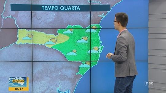 Previsão é de tempo instável e de temperaturas amenas nesta quarta-feira em SC