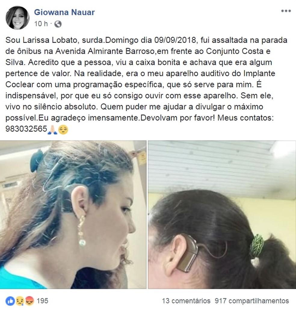 Mãe de jovem que teve aparelho auditivo furtado inicia campanha nas redes sociais para recuperar objeto. (Foto: Reprodução / Facebook)