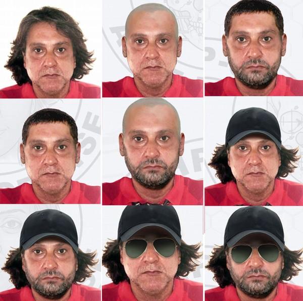 Polícia fez simulação de possíveis disfarces usados por Paulo Cupertino para fugir após matar ator e os pais dele — Foto: Divulgação/Polícia Civil