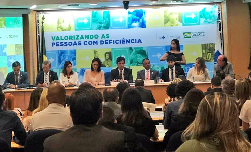O ministro da saúde, Luiz Henrique Mandetta, em evento sobre pessoas com deficiência, em Brasília (DF) — Foto: Aline Ramos/G1 DF