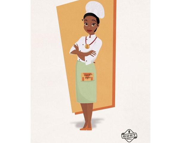 Tiana, de A Princesa e o Sapo, herdou o gosto do pai pela cozinha e é a chef renomada e premiada à frente de seu famoso restaurante. (Foto: Reprodução / Matt Burt)
