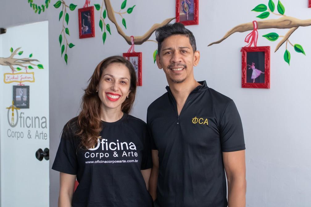 Patrícia Pressutti e André Matos investiram na pintura de sua escola de dança no começo de 2019 — Foto: Karina Trevizan/G1