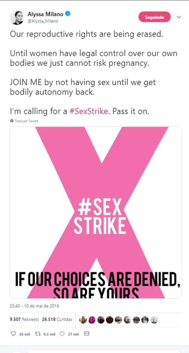 Alyssa Milano polemiza ao falar de greve de sexo até que aborto seja regulamentado (Foto: Reprodução/Twitter)