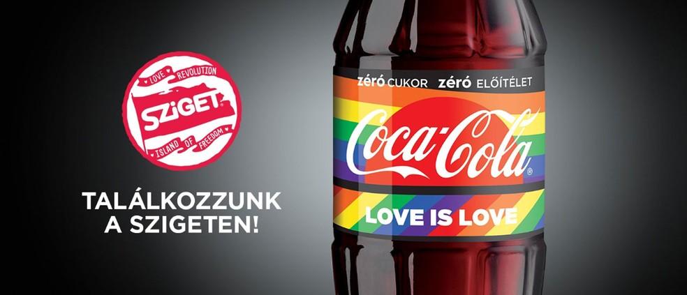 Foto da propaganda da Coca-Cola para o festival Sziget, na Hungria — Foto: Reprodução/ Facebook Coca Cola